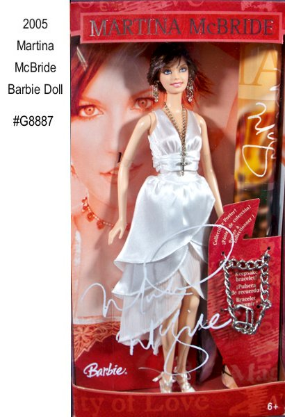 MARTINA MCBRIDE has used her career to be a spokes person for organizations that help woman and children, earning her several humanitarian awards. This beautiful celebrity doll wears a re-creation of the gown she wore to the 39th Annual Academy of Country Music Awards, where she was named Top Female Vocalist for the third consecutive year.