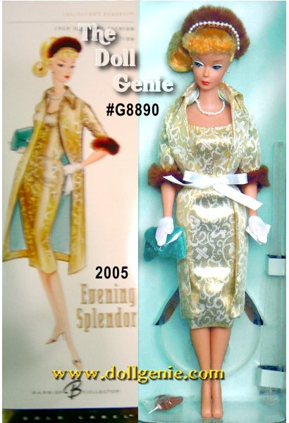 Exceptional retro style comes alive with this re-creation of the original 1959 fashion, featuring an all-new body sculpt, a sensational reproduction of the vintage sculpt. Evening Splendor Barbie doll wears a slim golden and white metallic brocade dress and matching coat with three-quarter length sleeves trimmed in faux fur. Accessorized for a night on the town with a faux fur headband hat with faux pearl trim, brown open-toed mules, de rigueur string of faux pearls and matching earrings, purse, white gloves and a hanky every detail brings back memories of a time gone by.