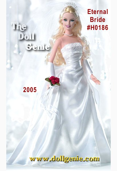 A radiant bride, dressed in a stunning gown she glows with romance and excitement. This is the beginning of a new life, a celebration of love everlasting, expressed at this beautiful wedding and shared with family and friends. An unforgettable event that will be remembered for years to come!  Eternal Barbie doll, available exclusively at Davids Bridal, wears a stunning gown featuring a glitter print top and white satin dress. Faux pearl earrings and necklace repeat the faux pearl details in the veil. A red rose bouquet with white ribbons lends a final air of pure romance.
