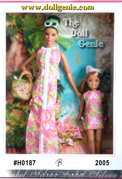 Barbie doll and Stacie doll by Lilly Pulitzer pay tribute to Lillys bright and colorful design. Barbie doll wears a long shift with the perfect, casual-but-chic accessories: sunglasses, purse, scarf, and golden hoop earrings. Stacie doll is adorable in a short shift and kerchief.
