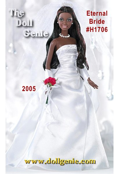 A radiant African American bride, dressed in a stunning gown she glows with romance and excitement. This is the beginning of a new life, a celebration of love everlasting, expressed at this beautiful wedding and shared with family and friends. An unforgettable event that will be remembered for years to come! Eternal Barbie doll, available exclusively at Davids Bridal, wears a stunning gown featuring a glitter print top and white satin dress. Faux pearl earrings and necklace repeat the faux pearl details in the veil. A red rose bouquet with white ribbons lends a final air of pure romance. This doll is the African American version.