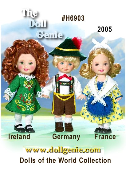 Kelly doll and friends are wearing traditional dress from three wonderful countries in Europe. Each adorable small doll represents one of three countries with their own unique flavor. There is a doll from Germany, famous for its many castles and the Black Forest; a doll from France, known for the Eiffel Tower and fabulous cuisine; and one from Ireland, land of the leprechaun.?