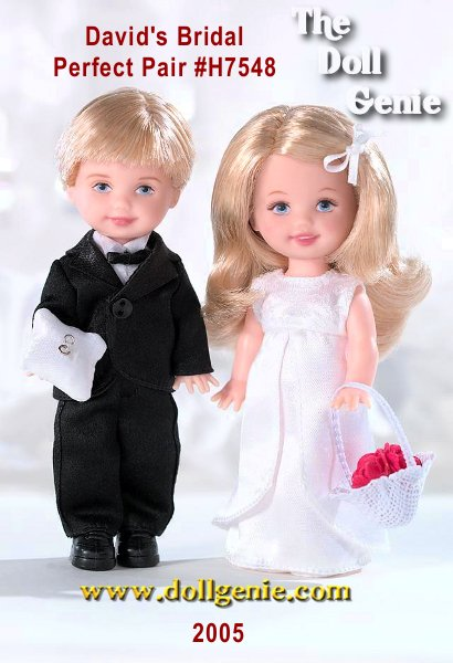 Does your wedding party include an adorable flower girl and a handsome ring bearer. Available exclusively at Davids Bridal, the Perfect Pair Tommy doll and Kelly doll gift set commemorates their important role in your special day! Tommy doll safeguards the rings on a tiny pillow, while satin-clad Kelly doll stands ready to toss rose petals at your feet. A charming memento of the perfect wedding yours!