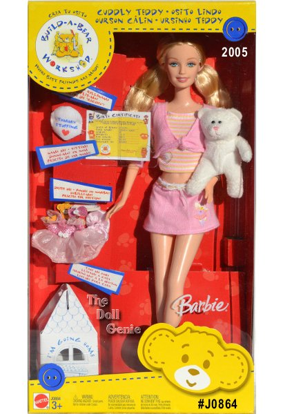 Barbie doll is dressed in a trendy outfit and comes with Cuddly Teddy, whom she can stuff, name, dress and take home in a signature Build-A-Bear box. 2005 Mattel Build-A-Bear Workshop Barbie doll. This Barbie doll includes: a doll stand, shirt, skirt, shoes, white plush bear, the bear's tummy stuffing, the bear's Birth Certificate, the bear's dress, and a cardboard miniature