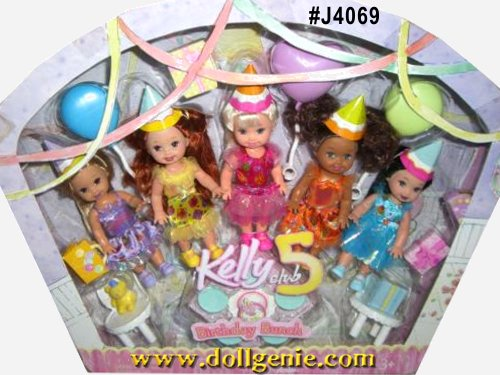 The cutest birthday-themed Kelly Club 5 dolls ever! Kelly, Deidre, Kayla, Melody & Kerstie! Each of these adorable birthday themed small dolls makes perfect party favors for that special day. Includes birthday accessories like cake, presents, balloons, table & chairs and all of them wear a sweet paper hat.