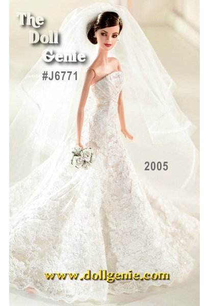 Carolina Herrera Bride Barbie doll wears an elegant gown, perfect for the most romantic wedding. The beautiful, beaded gown features ecru corded lace. The bodice is crisscrossed with satin-edged organza ribbon. The lovely veil of off-white tulle is edged with lace and  embellished with faux pearls. Pretty blue ribbons decorate the shoes. A white rose bouquet and earrings complete this bridal beauty.