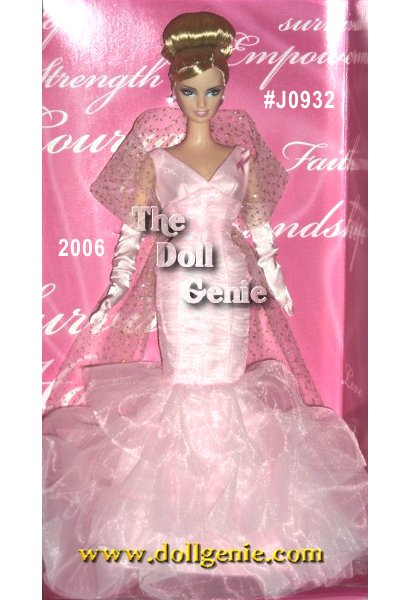 Designer Robert Best creates Pink Ribbon Barbie doll, a wonderful tribute to the Susan G. Komen Breast Cancer Foundation. Joining the fight against breast cancer, Barbie doll wears a frothy pink organza gown featuring a shirred design with  tiers of ruffles. An attached, pink ribbon proudly states Barbie dolls support. A sparkly, tulle stole and long pink gloves complete the stylish ensemble! The Komen Foundation will receive a minimum of $100,000 from Mattel to support the fight against breast cancer. For questions about breast health or breast cancer, visit the Komen Foundations Web site ator call the Komen Foundations National Toll-Free Breast Care Helpline at 1.800.462.9273