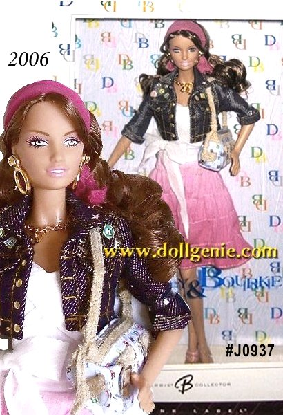 Dooney & Bourke, the all-American handbag and accessory company, originated in 1975. Their trendy, fashionable styles and designs are popular with both young and old alike, with affordable prices and brand name appeal. Dooney & Bourke Barbie doll wears a bohemian style ensemble with a tiered ombre pink skirt and cropped denim-like jacket with prominent Dooney & Bourke emblems. Naturally, the most important accessory is a signature Dooney & Bourke purse from their iconic It collection. This fabulous doll, inspired by the casual chic of Dooney & Bourke, wears hoop earrings, three bangle-style bracelets and a pink scarf in her long hair as final touches.