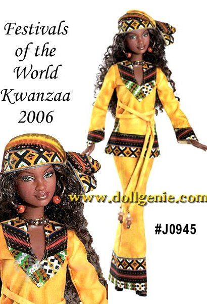 Kwanzaa is a uniquely African-American holiday that celebrates African values of family and community. Kwanzaa means the first fruits of the harvest and the festival is rapidly spreading throughout the world! Kwanzaa Barbie doll wears a beautiful outfit with an African inspired motif on the borders of her tunic style top, long skirt and headscarf. Beading on her belt, necklace and earrings add the final touch. Barbie designed by Katiana Jim?nez