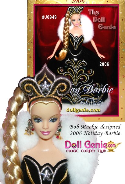 This most beautiful season brings celebrations filled with the joy and love of family and friends. If you believe, the holidays deliver the gifts of harmony and hope, wrapped in magic and decorated with glamour! Bob Mackie again presents a beautiful gift for this special season. The 2006 Holiday Barbie by Bob Mackie is wonderfully sophisticated in a black gown and white faux fur, embellished with festive multicolored stars. 2006 Holiday Barbie marks Bob Mackies second Holiday Barbie doll creation, sure to be treasured for years to come.
