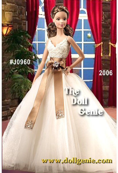 Monique Lhuillier Bride Barbie doll wears a gown capturing the sophistication of todays modern bride with an off-white lace bodice above a tulle A-line pleated skirt. A sable-colored satin sash with rhinestone floral brooch accents the waist. Further embellishments on the ends of the sash add drama with embroidery decorated with faux pearls and tiny silvery sequins. Accoutrements include diamond stud earrings and ring. Finally, the doll wears lace undergarments and an off-white garter with blue ribbon detail. Less than 8,500 worldwide.