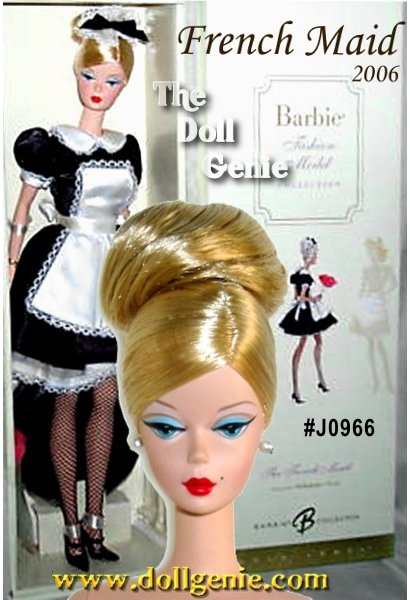 The French Maid Barbie doll, designed by Robert Best, celebrates the working woman. The uniform includes crisp black dress, accented with white cuffs and collar, apron, and petticoat. Matching cap and alluring fishnets lend an air of sophistication. Black Mary Janes and feather duster complete the ensemble. Less than 5,700 rnworldwide.