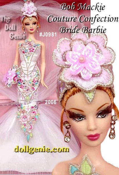 Club Exclusive Series - Couture Confection Bride Barbie doll wears a fantasy wedding gown as delicate as spun sugar and pretty as a petit four! Inspired by the sweetest of brides, this doll epitomizes Bob Mackies signature wit, drop-dead style, and over-the-top glamour. The perfect complement for this luscious gown: sparkling Swarovski crystal earrings!