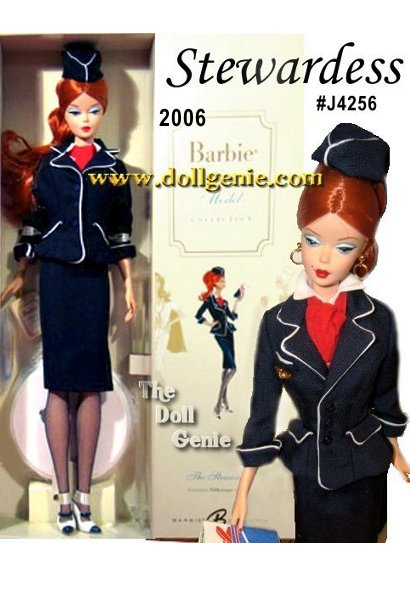 The Stewardess Barbie doll, designed by Robert Best, celebrates the working woman. The uniform includes snappy blue suit featuring white piping, matching cap, and white collar with red scarf. Blue and white Mary Janes and dark hose complete the ensemble. No more than 3,900 units produced worldwide