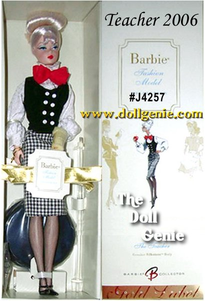 The Teacher Barbie doll, designed by Robert Best, celebrates the working woman. The ensemble includes tasteful houndstooth skirt, white blouse, and black vest. A red bow tie, black hose and mary janes, and cerebral round glasses complete the ensemble. Less than 5,300 units worldwide.