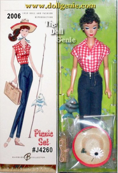 Picnic Set Barbie doll wears a vintage reproduction of an ensemble originally introduced in 1959. Red and white check shirt, clam-diggers, and straw hat comprise the perfect outfit for a day off, fishing and picnicking in the country! Wedgie sandals, a woven picnic basket, and fishing pole complete this wonderfully nostalgic Barbie doll! No more than 10,600 units produced worldwide.