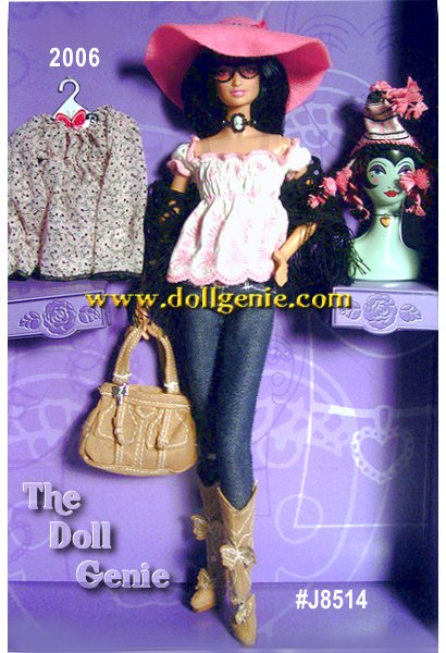 Clad in head-to-toe Anna Sui, Anna Sui Boho Barbie is the picture of Bohemian chic. The look begins with a dainty white blouse with pink embroidered floral details and an empire waist. On top, theres a black, crochet-look shawl straight out of the 1970s! With this, she pairs straight-cut, denim-type trousers tucked into faux suede cowboy boots embellished with butterflies. Check out the matching handbag and belt! A Victorian-style cameo choker serves as the perfect accessory. This ensemble is completed with a pair of rose-hued rocker shades and a floppy pink hat trimmed with silvery studs. This doll also comes with an additional printed blouse and cool urban-tribal knit cap + hip accessories to mix and match! Less than 7,700 worldwide.