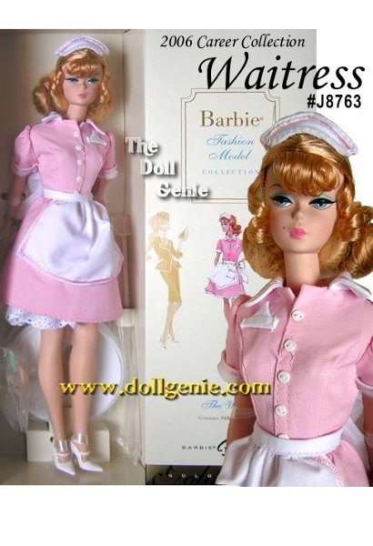 The Waitress Barbie doll, designed by Robert Best, celebrates the working woman. The uniform includes perky pink dress with crisp apron and matching cap. White mary janes and coffee pot complete the ensemble. Less than 13,400 worldwide.