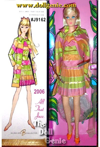 Selected from the Collectors Request Barbie archives to represent the happenin fashions of the 60s, All That Jazz Barbie doll reflects the vibrant style of the mod decade! Bold, geometric design and hot colors are completely on-trend in this favorite fashion that debuted in 1968 as #1848 in the 1800 series fashions. Barbie doll, reproduced from a vintage body sculpt, wears a reproduction of the 1968 fashion - metallic woven dress with pleated skirt and bold stripes of orange, hot pink, chartreuse, and metallic goldtone. Golden bead buttons accent the matching coat and stylish accessories include hose, shoes and an orange hair bow! Less than 12,100 worldwide.