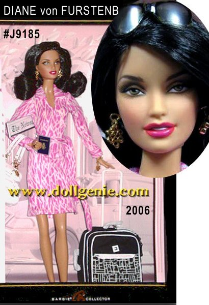 With passport in hand and designer      luggage by her side, Diane von Furstenberg Barbie doll is ready to jet-set in style! Dressed in a pink and white patterned wrap dress, a style synonymous with the DVF name, Barbie doll embraces the designers signature flair a blend of comfort and class, perfect for voyaging around the world. Accessories include an oversized white bag, folded newspaper, dangly charm bracelet, earrings and sunglasses, making this ensemble city-chic as well as travel-friendly!