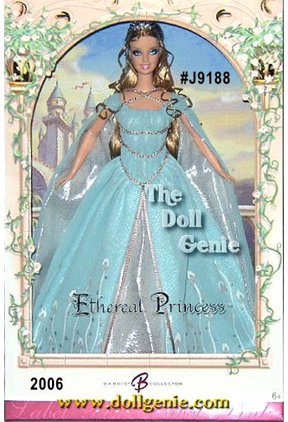 Designer Sharon Zuckerman creates a beautiful tribute to an enchanted, royal world. Ethereal Princess Barbie doll ?casts? a regal spell in a blue chiffon gown embellished with a floral design and silvery chiffon front inset. Beaded ribbon decorates the shirred bodice. Shoes and a silvery tiara complete the royal ensemble.