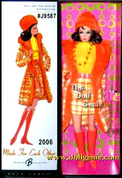 This fantastic re-creation of the vintage 1969 Made For Each Other #1881 fashion coupled with a reproduction of the retro Twist n Turn Barbie doll body re-visits the swinging 60s and the era of mod. The attention grabbing ensemble of sunny colors includes a bright yellow knit sleeveless top, woven skirt and belted midi coat in yellow, white and orange with a groovy plush orange collar and matching plush orange hat. Final accessories include a double strand of yellow and orange plastic beads and high orange boots.