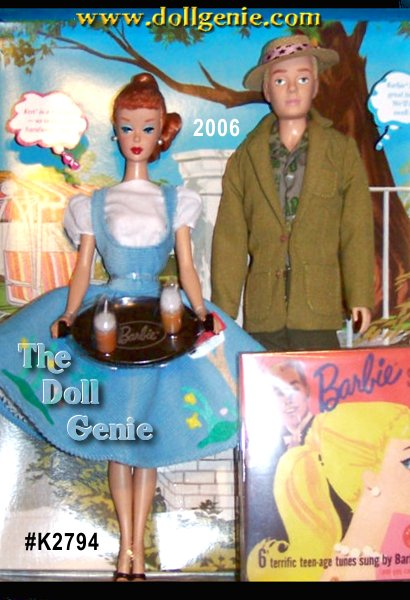 Friday Night Dream Date Barbie doll and Ken doll Giftset is a fabulous reproduction of two beloved retro looks. Barbie doll is dressed in a re-creation of Friday Nite Date #979, a whimsical powder blue jumper embellished with felt appliques. Dreamboat Ken, a reproduction doll, is the perfect date in a re-creation of the 1961 fashion #785. Fun fact Barbie dolls red ponytail was first available in 1961, the same year Ken debuted! The package features vintage art from go-together fun sets and a groovy reproduction of the original Barbie Sings! 45 on CD.!