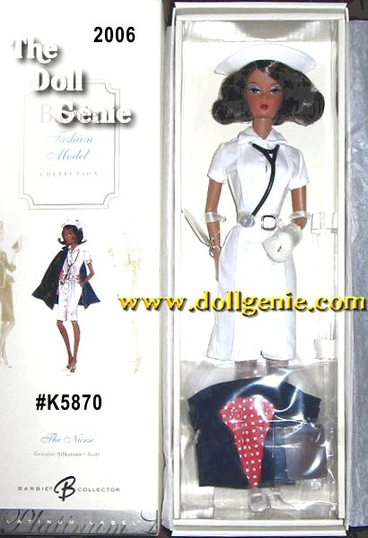 The Nurse Barbie doll, designed by Robert Best, celebrates the working woman. The uniform includes crisp white, belted dress, matching cap, and blue cape. White mary janes complete the ensemble. Barbie Fan Club Exclusive - African American Versionrn