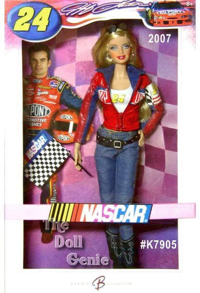 Roaring engines, explosive speed, electric crowds, and deafening cheers all add up to the thrill of NASCAR racing! Designer Sharon Zuckerman pays tribute to one of NASCARs best with this sensational doll. Dressed in jeans, knee-high boots, and a fitted racing jacket, Barbie doll is ready to cheer Jeff Gordon, #24, on. A true superstar, Gordon began racing at the tender age of five, and has been consistently victorious throughout his career. No wonder this driver counts