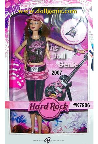 Hard Rock Barbie doll is seriously rockin in an electric Sharon Zuckerman design that pops in pink and black! The superstar ensemble includes a pink camo miniskirt, black leggings and high-top sneaks, with big, bold accessories and a super-contemporary skull and crossbones motif. With a sparkly grey guitar splashed with pink, that unmistakable Hard Rock logo, this doll is the picture of rockstar chic (Blonde Version)