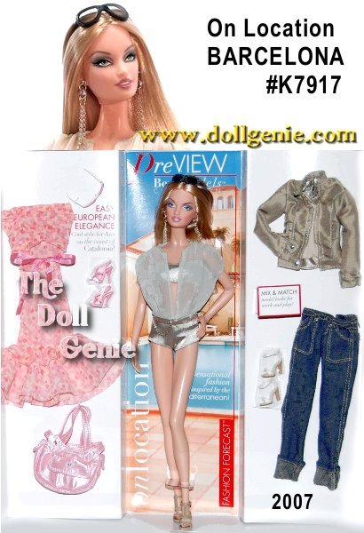 Pretty and polished, On Location: Barcelona Barbie doll sizzles in fashions inspired by the Mediterranean coast! Designed by Robert Best and featuring the ModelMuse body sculpt, this glamorous beauty comes flawlessly attired for a poolside afternoon. Complete with model-perfect accessories, the giftset includes two more fabulous outfits: a casually cool sightseeing look with jeans, jacket and shimmering, sequin-trimmed halter top, and a ruffly, feminine dress for a night out on the town. This savvy siren is all about elegance, easy European style!