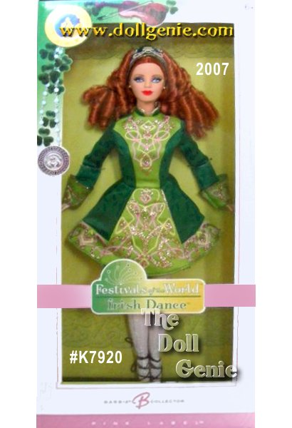 This gorgeous red-headed lass is all set to strut her stuff at a feiseanna, a traditional Irish dance competition thats as colorful and electrifying as her costume! Designed by Sharon Zuckerman, Irish Dance Barbie doll evokes all the beauty and charm of Gaelic culture. The Celtic-chic ensemble is a striking jade green, reminiscent of Irelands lush countryside and spirited like the feiseanna itself. Step-dancing has never looked so good!