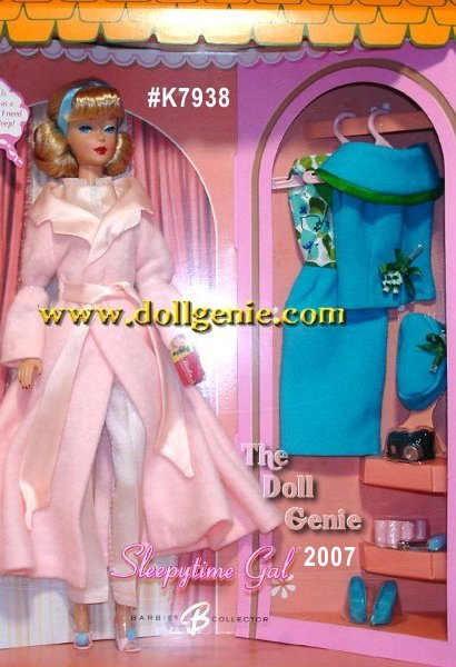 Ready to turn in for the night, this reproduction Sleepytime Gal Barbie doll wears a      lovely re-creation of the 1966 fashion #1674. Housed in a wonderful tribute to the vintage Barbie Dream House, this fun set includes reproductions inspired by the original accessories: pink open toe mules with blue pompoms, a comb and brush set, retro hair rollers, bobby pins, and a book all essential items for some much-needed R&R! In the closet hangs another reproduction outfit, inspired by 1965s Fashion Editor #1635. The turquoise dress features a printed, glittery bodice, and has a matching jacket with green satin trim. A pillbox hat and spike pumps are the final stylish touches for our editrix extraordinaire. Just goes to show: a high-powered fashion editor would never go without her requisite beauty sleep! Less than 5,900 worldwide.