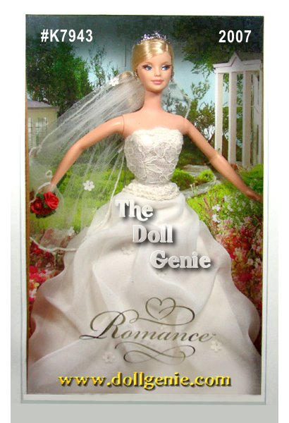 On the happiest day of her life, Romance Barbie doll is sublime in a wedding dress inspired by an exclusive Davids Bridal design. The ethereal off-white gown features a strapless lace bodice and full tufted skirt, with a silvery tiara and faux rose bouquet completing the lovely look. Romance Barbie doll lends a fairy-tale air to an already enchanted day, and would make a beautiful memento for any bride about to walk down the aisle.