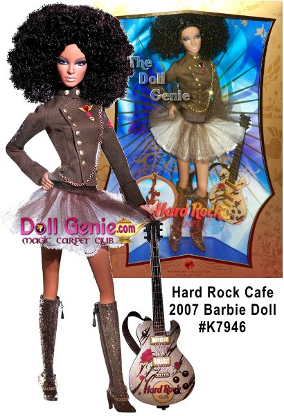 Theres no question about it: Hard Rock Cafe is where rock n roll collides with cutting-edge cool. And in true HRC style, Barbie doll steps onto the scene rockin a totally edgy, unexpected look! The sassy ensemble features a tulle skirt, military-inspired jacket and knee-high boots, with a big, bold hairstyle to match. Accessories include an electric guitar decorated with the Hard Rock  logo and a keepsake pin, available exclusively with Hard Rock Cafe Barbie doll. Less than 12,000 worldwide