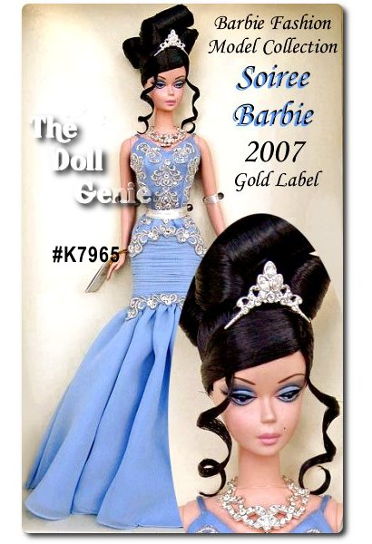 Whether attending a Tinseltown gala, awards show or movie premiere, our striking starlet is a glamorous vision in blue. Dressed in an intricately detailed pale gown, complete with black opera-length gloves, statement-making jewels and a lovely updo, The Soiree Barbie doll is as dramatic and dazzling as any real star in the sky! Less than 8,000 worldwide