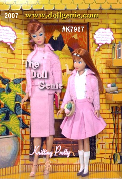 In this adorable gift set, Barbie doll and Skipper doll are bonding over their shared hobby: knitting! The reproduction Knitting Pretty Barbie doll and Skipper doll gift set features a copper-haired Barbie doll in a re-creation of Knitting Pretty, 1964?s #0957 from the 900 Series Fashions: a dainty pink cardigan with matching shell and skirt. Equally delightful is the red-headed Skipper doll, in a re-creation of School Days 1900 Series Fashion #1907, from the same year: a pink sweater, white blouse and pleated skirt. The Knitting Pretty Barbie doll and Skipper doll giftset comes with two bowls of yarn, a book, and a whimsical tribute to the vintage Barbie Dream House. Warm and fuzzy, indeed!