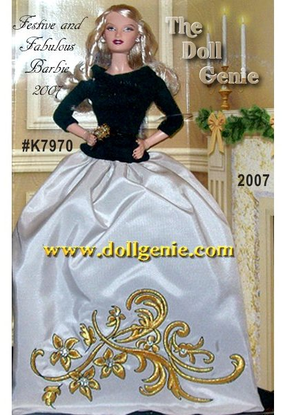 For fashionable flair during the most festive season of all, this doll passes on the white and      red, and goes for full-blown luxury instead! Festive and Fabulous Barbie doll wears a gracefully simple black top and full, flowing champagne skirt decorated with golden embroidery. Talk about sheer sophistication with an elegant, vintage twist. Less than 4,100 worldwide