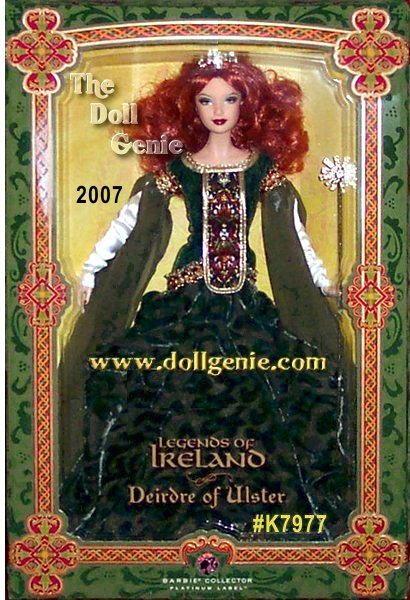 The fourth doll in the Legends of Ireland Collection is inspired by Deirdre of Ulster, a magnificent beauty whose tragic story made her a legendary heroine of Irish folklore. Deirdre was brought up in seclusion by Conchobar, King of Ulster, who planned to marry her when she was of age. Instead, she fell in love with a handsome warrier named Naisi, fleeing with him to Scotland, but the happiness was short-lived: Conchabar had an ill-fated plan in store. Naisi was killed, and Deirdre, who is also sometimes referred to as Deirdre of the Sorrows, later died from grief. This heartbreaking tale of eternal love results here in a beautiful doll with cascading red hair and a Celtic-inspired gown. Limited to only 999 worldwide.