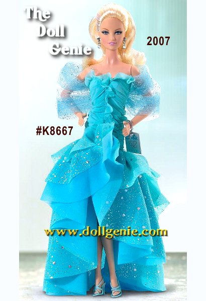 Renowned designer Robert Best creates this lovely doll to welcome you to a brand new year in Caucasian and African American versions! Barbie doll 2007 wears a ruffled chiffon gown in striking shades of turquoise, accented by silvery sparkles that catch the dancing light. A shimmering tulle stole is the final embellishment to this beautiful doll, which would make a great addition to any collection, whether its brand new or decades in the making!