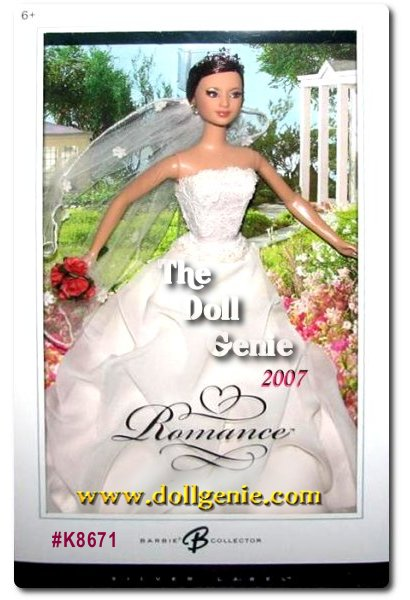 On the happiest day of her life, Romance Barbie doll is sublime in a wedding dress inspired by an exclusive Davids Bridal design. The ethereal      off-white gown features a strapless lace bodice and full tufted skirt, with a silvery tiara and faux rose bouquet completing the lovely look. Romance Barbie doll lends a fairy-tale air to an already enchanted day, and would make a beautiful memento for any bride about to walk down the aisle