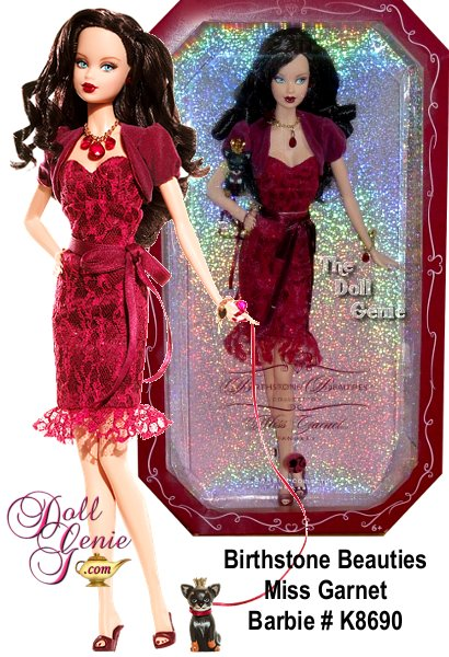 The gorgeous garnet, a deep, elegant red, is Januarys birthstone. Equally lovely is Miss Garnet Barbie doll, paying tribute to the glorious gem in faux garnet jewelry, a sassy lace dress, matching bolero jacket and heels, all in the enchanting red hue. Even the precious puppys leash and crown come in the same birthstone shade. How brilliantly beautiful!