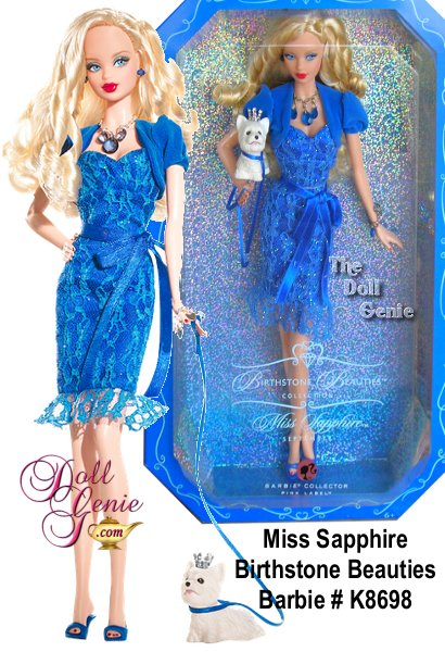 The striking sapphire, a brilliant deep blue, is Septembers birthstone. Equally lovely is Miss Sapphire Barbie doll, paying tribute to the glorious gem in faux sapphire jewelry, a sassy lace dress, matching bolero jacket and heels, all in the enchanting blue hue. Even the precious puppys leash and crown come in the same birthstone shade. How brilliantly beautiful!