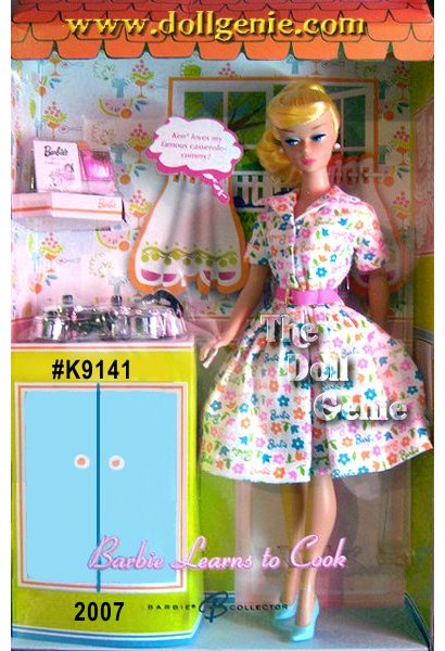 Barbie Doll Learns To Cook reflects the joyful innocence of a bygone era. Dressed in fresh, happy hues, this domestic goddess wears a re-creation of a beloved 1965 fashion: a fun printed shirtdress with a full skirt and pink belt. With blonde hair pulled back in a nostalgic swirl ponytail, this vintage reproduction doll is all about 1960s chic. A set of adorable cooking accoutrements including a toaster and toast slices add a little bit of humor and a whole lot of fun to this truly whimsical set! Only 10,700 of these dolls made worldwide.