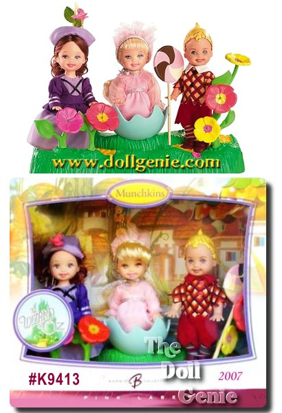 The benevolent and resourceful Munchkins capture hearts and imaginations with their colorful outfits and signature voices as they urge Dorothy to Follow the Yellow Brick Road in the beloved classic, The Wizard of Oz. The dwellers of Munchkinland light up the screen and now, Kelly dolls and Tommy doll make their debut as the unforgettable Wizard of Oz movie characters! These adorable Wizard of Oz Munchkins Kelly dolls and Tommy doll make a wonderful addition to any doll collection.