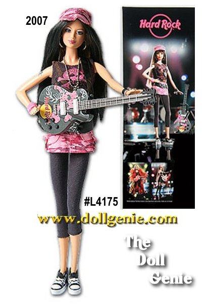 Hard Rock Barbie doll is seriously rockin in an electric Sharon Zuckerman design that pops in pink and black! The superstar ensemble includes a pink camo miniskirt, black leggings and high top sneaks, with big, bold accessories and a super-contemporary skull and crossbones motif. With a sparkly grey guitar splashed with pink, that unmistakable Hard Rock logo, this doll is the picture of rockstar chic!(Brunette Version - Hard Rock Exclusive)