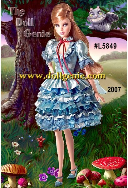 You dont need a looking glass to experience the extraordinary world of Wonderland! Alice in Wonderland Barbie doll        captures the timeless whimsy of the beloved tale of Alice?s adventures through a topsy-turvy world and the colorful cast of characters she meets along the way. This beautiful Barbie doll wears a blue ruffled dress and comes with that magically smiling sidekick, Cheshire Cat.