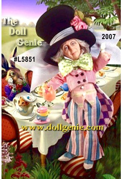 Who could forget the Mad Hatters never-ending tea party in the classic fantasy tale, Alice in Wonderland In this wonderful representation, Mad Hatter doll appears in a whimsical outfit as topsy-turvy as Wonderland itself: a huge black top hat with floral details, an equally enormous light green bow tie, and a theatrical 3-piece suit in various prints of pink, purple and blue. What a fun, lovable character!