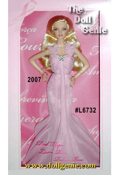 Created by Robert Best, Pink Hope Barbie doll is a glamorous and lovely tribute to the global fight against breast cancer. This internationally released doll brings a unique opportunity to educate people about breast cancer, and inspire and support those whose    lives have been touched by the disease. Dressed in a pretty pink chiffon gown with a rhinestone brooch accent, this is one class act with an extremely important message.