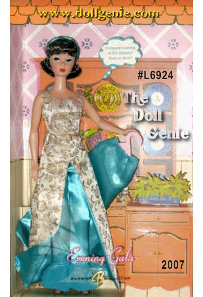 Whether hosting a dinner party or attending a movie premiere, Barbie doll always dresses with impeccable style! This reproduction Evening Gala Barbie doll wears a gorgeous re-creation of an old favorite, first seen in 1966. A long overdress in cream and golden brocade pairs elegantly and effortlessly with the satin skirt or slacks, both in a pretty aqua blue. The demure brunette American girl hairstyle is accented by an aqua headband, making this the perfect retro hostess with the mostest look! Less than 9,995 worldwide.